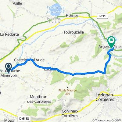 De D127, Roquecourbe-Minervois à 10 Rue de la Fontaine Fraîche, Argens-Minervois