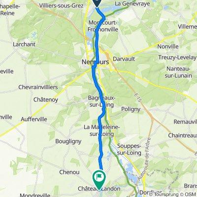 De D40d, Grez-sur-Loing à 31 Rue Jean Galland, Château-Landon