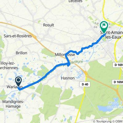De 81 Rue du Buverlot, Warlaing à 1–17 Grand'Place, Saint-Amand-les-Eaux