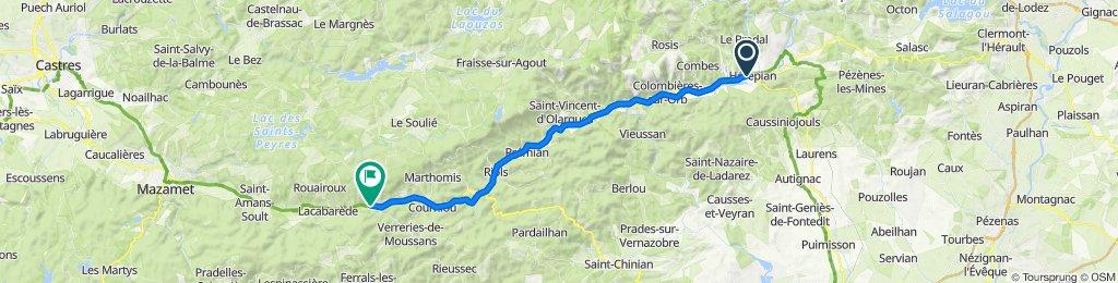 De Avenue de l'Espinouse 34, Hérépian à Mas de Bonnet 19, Labastide-Rouairoux