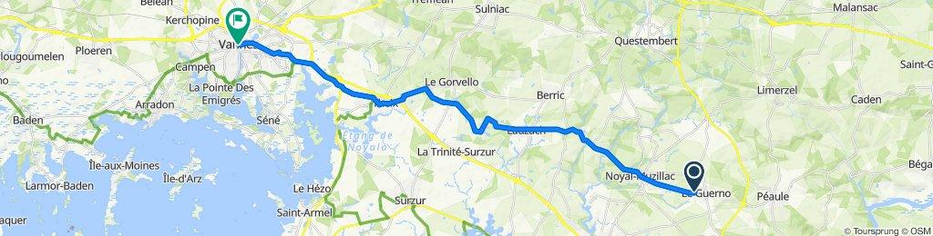 De 26 Rue du Borg-Nehue, Le Guerno à 2–8 Place Maurice Marchais, Vannes