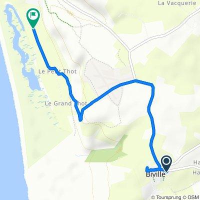 De 2 Chemin des Queves, Biville à 5–9 Route du Petit Thot, Vauville