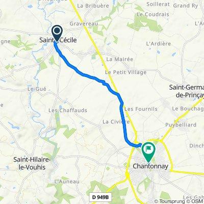 De Place de l'Église 9, Sainte-Cécile à Rue Travot 2, Chantonnay