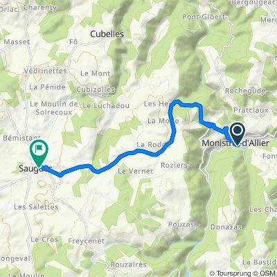De D589, Monistrol-d'Allier à 1 Rue Eugène Ménard, Saugues