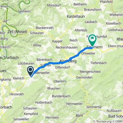 Auf dem Haaskopf 11, Hirschfeld (Hunsrück) nach Herzog-Reichard-Straße 20, Simmern (Hunsrück)