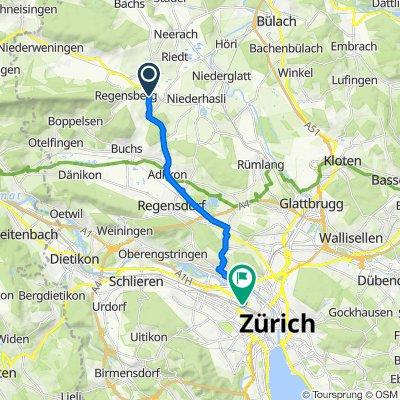 Regensbergstrasse, Dielsdorf nach Hardstrasse 186, Zürich