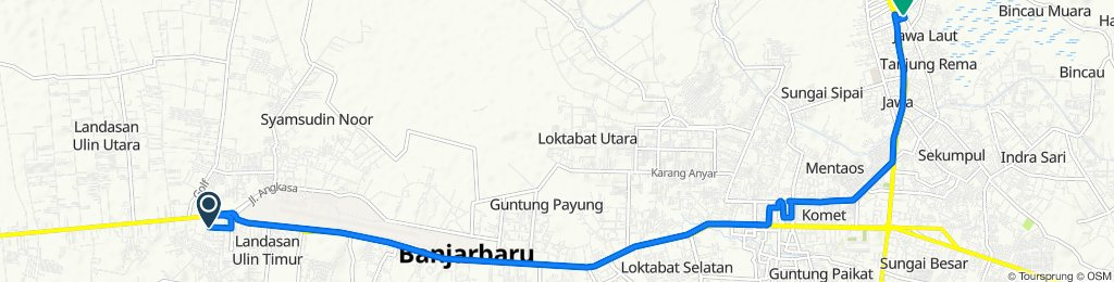 Jalan Kampung Baru, Kecamatan Liang Anggang to Jalan Sukaramai 16, Kecamatan Martapura