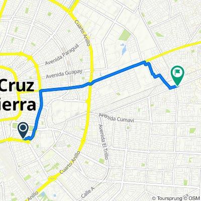 Ruta desde Calle Teniente Román Alderete, Santa Cruz de la Sierra