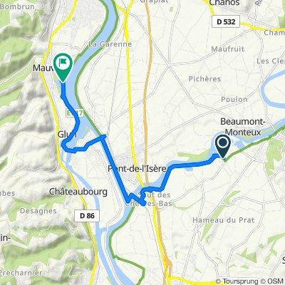 Itinéraire à partir de Les Grenières, Châteauneuf-sur-Isère