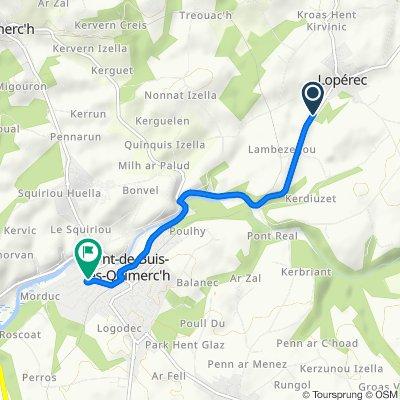 De 56 Rue du Pont Neuf, Lopérec à 2–8 Rue de l'Église, Pont-de-Buis-lès-Quimerch