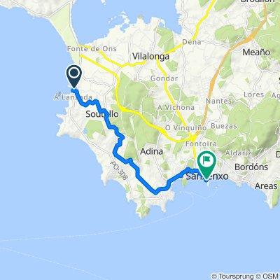 Rúa A Lanzada, Sanxenxo to Praza dos Barcos, Sanxenxo