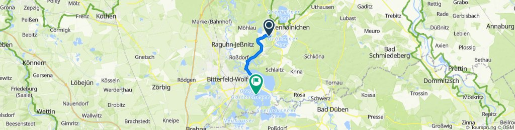 Ernst-Thälmann-Straße 22B, Gräfenhainichen nach Unnamed Road, Bitterfeld-Wolfen