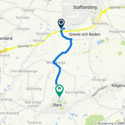 Västanvägen, Staffanstorp to Värbyvägen, Bara