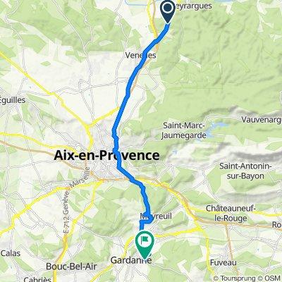 De D96, Meyrargues à Avenue Pierre Brossolette 553, Gardanne