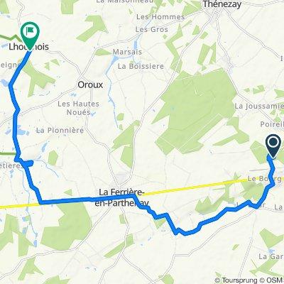 Route de la Gare, Chalandray naar Rue du Général d'Autichamp 6, Lhoumois