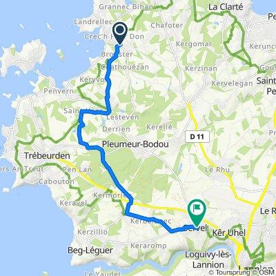 De Route du Golf Kerenoc 2, Pleumeur-Bodou à Rue Yves Marie Herviou 6, Lannion