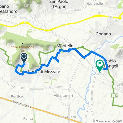 Da Via Don M. Alberti 3, Bagnatica a Via Cavalieri di Vittorio Veneto 47, Carobbio