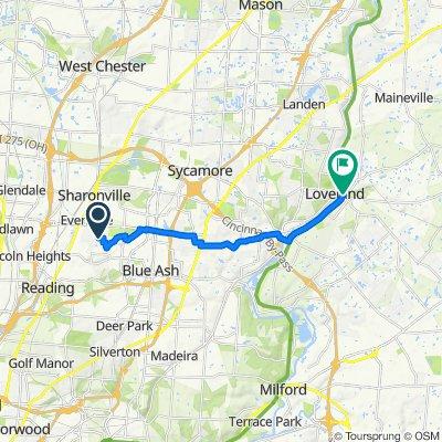 3626 Vineyard Ridge, Evendale to 200 W Loveland Ave, Loveland