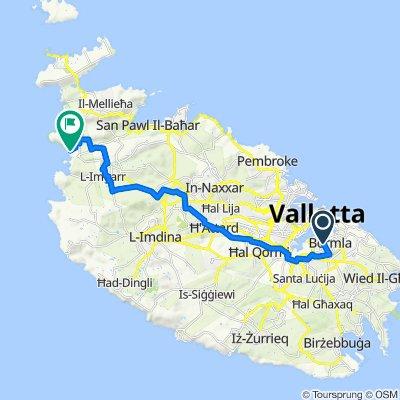 Route von Triq Pietru Pawl Caruana, Bormla