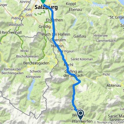 Route nach Müllner Hauptstraße, Salzburg