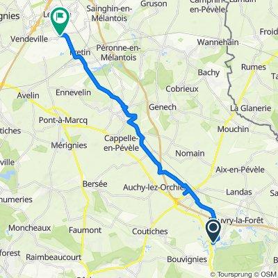 De 995 Rue Jacques Varlet, Beuvry-la-Forêt à D145, Fretin