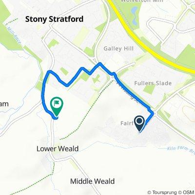 Route from Vespasian Road, Milton Keynes