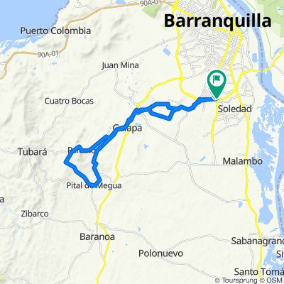 LOS ALMENDROS - GALAPA - GUAIMARAL - ADOQUINADA - PITAL DE MEGUA - LOS ANGELES - GALAPA - LOS ALMENDROS