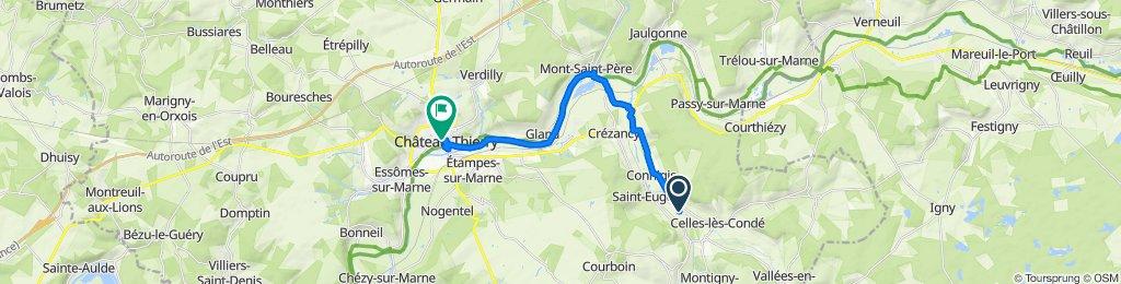 De Chemin du Bouvier, Monthurel à Grande Rue 55, Château-Thierry