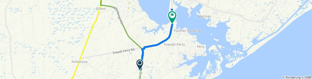 1248 NC-210, Sneads Ferry to 104 Lakeside Dr, Sneads Ferry