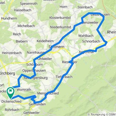 Auf dem Schinderhannesradweg nach Simmern und dannüber Ravengiersburg zurück nach Dickenschied.