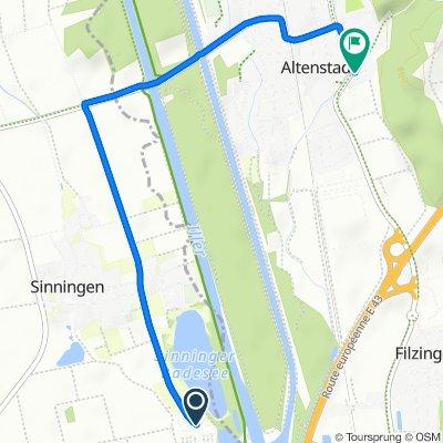 Werte 5, Kirchberg an der Iller nach Untere Illereicher Straße 2, Altenstadt
