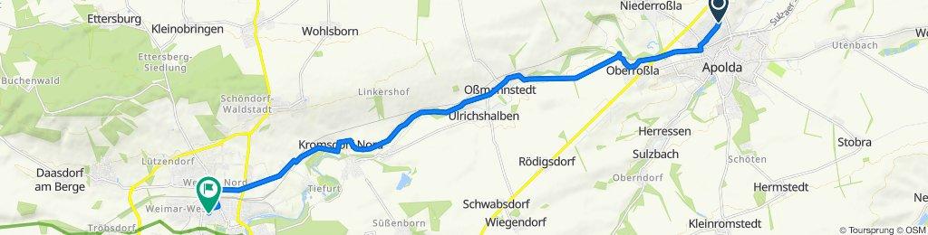 Christian-Zimmermann-Straße 27, Apolda nach Röhrstraße 30, Weimar