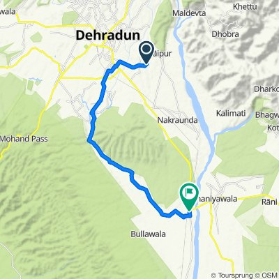 Route from Type III Pump House, Dehradun