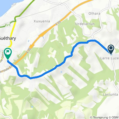 De Route de Larreluzea, Ahetze à 63–99 Chemin de Mendi Alde, Guéthary
