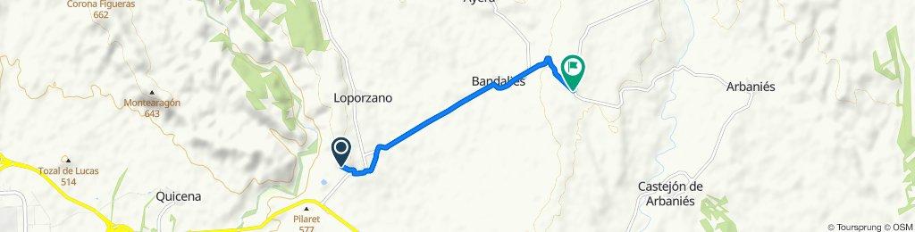 Ruta a Carretera de Huesca a Arbanies, Loporzano