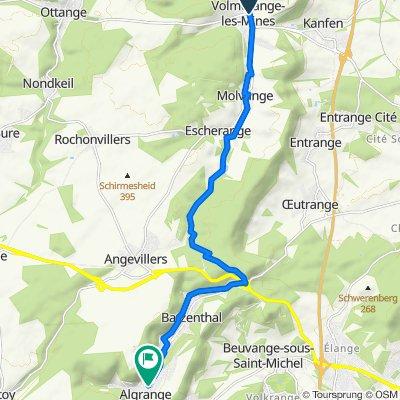 De D15, Volmerange-les-Mines a 2 Rue Saint-Jean, Algrange