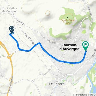 De Rue du Bois Joli 3, Cournon-d'Auvergne à Avenue Jean Moulin 8, Cournon-d'Auvergne