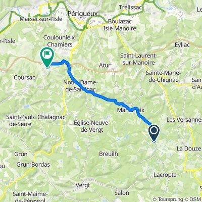 De D2, Lacropte à Route de Lauglusie 41, Coursac