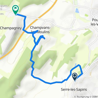De Rue Vachot 2, Serre-les-Sapins à Chemin du Vieux Village 23, Champagney