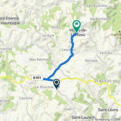 De D158, Saint-Laurent-de-Lévézou à 8 Route du Claux, Vézins-de-Lévézou