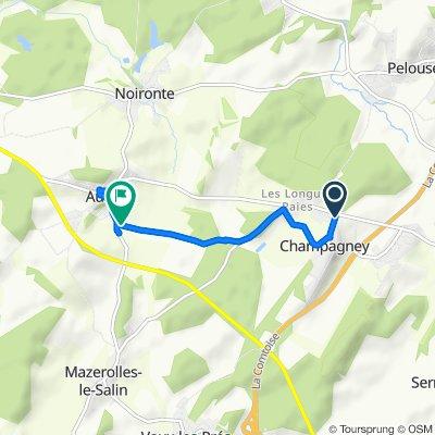 De Chemin du Vieux Village 23, Champagney à Route de Mazerolles, Audeux