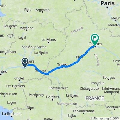 De 43 Route de Savennières, Rochefort-sur-Loire à 1 Rue Fernand Rabier, Orléans