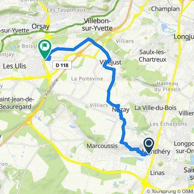 De Route de Marcoussis 26, Montlhéry à Avenue des Tropiques 2, Les Ulis