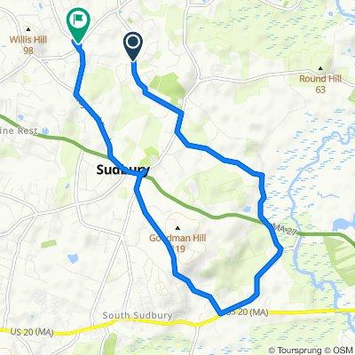 164 Morse Rd, Sudbury to 111–115 Marlboro Rd, Sudbury