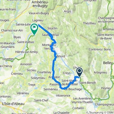 De D19 629, Groslée-Saint-Benoit à Route de Travers 14, La Balme-les-Grottes