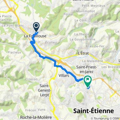 De 17 Allée de Chantalouette, La Fouillouse à 30 Rue de l'Enseigne Roux, Saint-Étienne