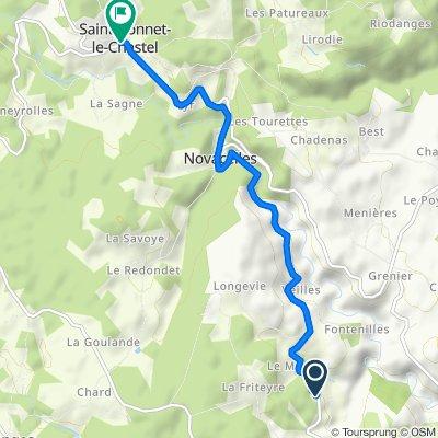 De D105, Saint-Sauveur-la-Sagne à Grand Rue, Saint-Bonnet-le-Chastel