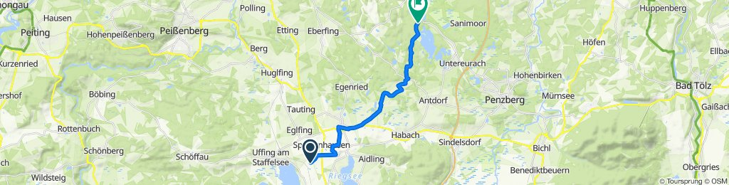 Route nach Unterlauterbach, Iffeldorf