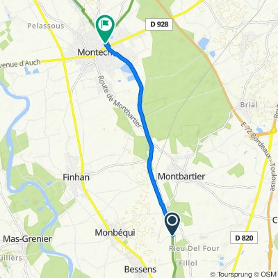 De Chemin du Canal, Bessens à Rue de l'Usine, Montech