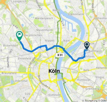 Graf-Adolf-Straße 13, Köln nach Iltisstraße 115, Köln